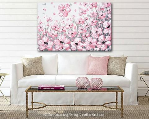 Giclee Print Abstract Painting Pink Poppies Flowers Grey White Regarding Pink Canvas Wall Art (Image 6 of 20)