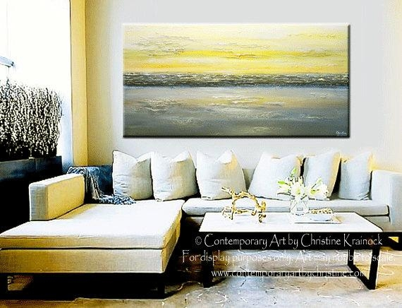 Giclee Print Art Abstract Painting Yellow Grey Wall Art Coastal Regarding Grey Abstract Canvas Wall Art (View 15 of 20)