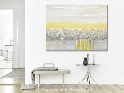 Giclee Print Art Yellow Grey Abstract Painting Modern Coastal With Grey Abstract Canvas Wall Art (Image 7 of 20)
