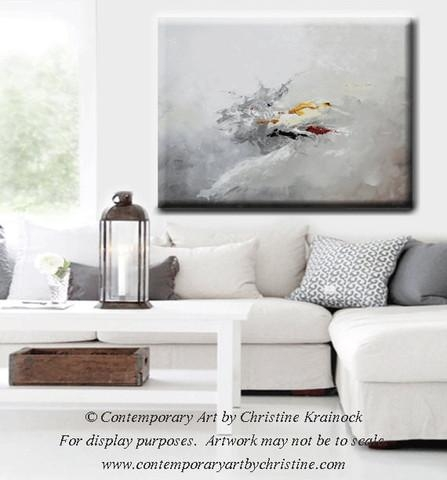 Giclee Print Grey Gold Abstract Painting Modern Coastal Wall Art Regarding Grey Canvas Wall Art (View 5 of 20)