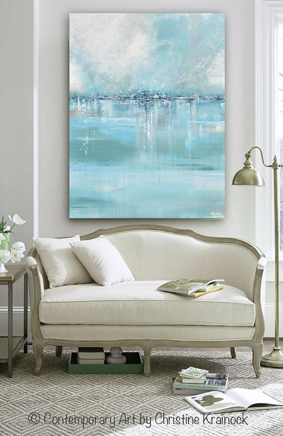 Giclee Print Large Art Abstract Painting Blue White Grey Wall Within Grey Canvas Wall Art (View 4 of 20)