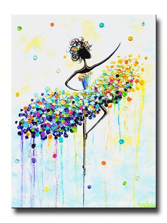 Giclee Print Of Abstract Dancer Painting Modern Large Art Wall Throughout Joy Canvas Wall Art (Image 9 of 20)