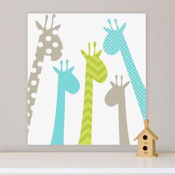 Giraffe, Children's Wall Art, Nursery Wall Art, Giraffe Nursery Throughout Giraffe Canvas Wall Art (Image 9 of 20)