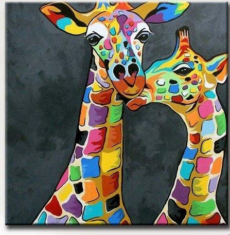 Giraffe Picture Art For Living Room Hand Painted Modern Abstract In Giraffe Canvas Wall Art (Image 8 of 20)