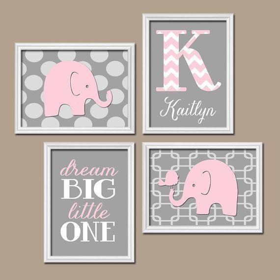 Girl Elephant Nursery Art – Pink Gray Elephant Nursery Wall Art Inside Custom Nursery Canvas Wall Art (View 2 of 20)