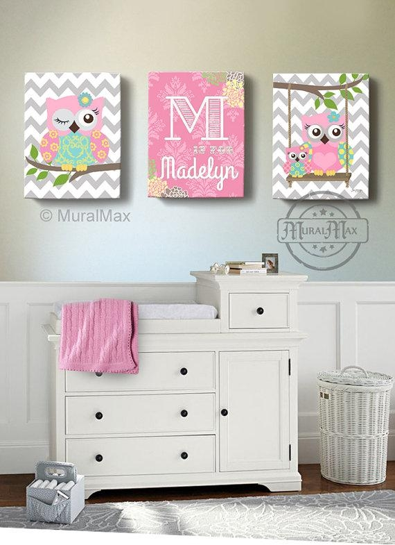 Girls Wall Art Owl Canvas Art Baby Nursery Owl Canvas Set With Regard To Baby Room Canvas Wall Art (Image 9 of 20)