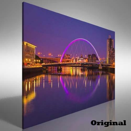 Glasgow Waterside Canvas Print Large Picture Wall Art | Ebay For Glasgow Canvas Wall Art (Image 10 of 20)