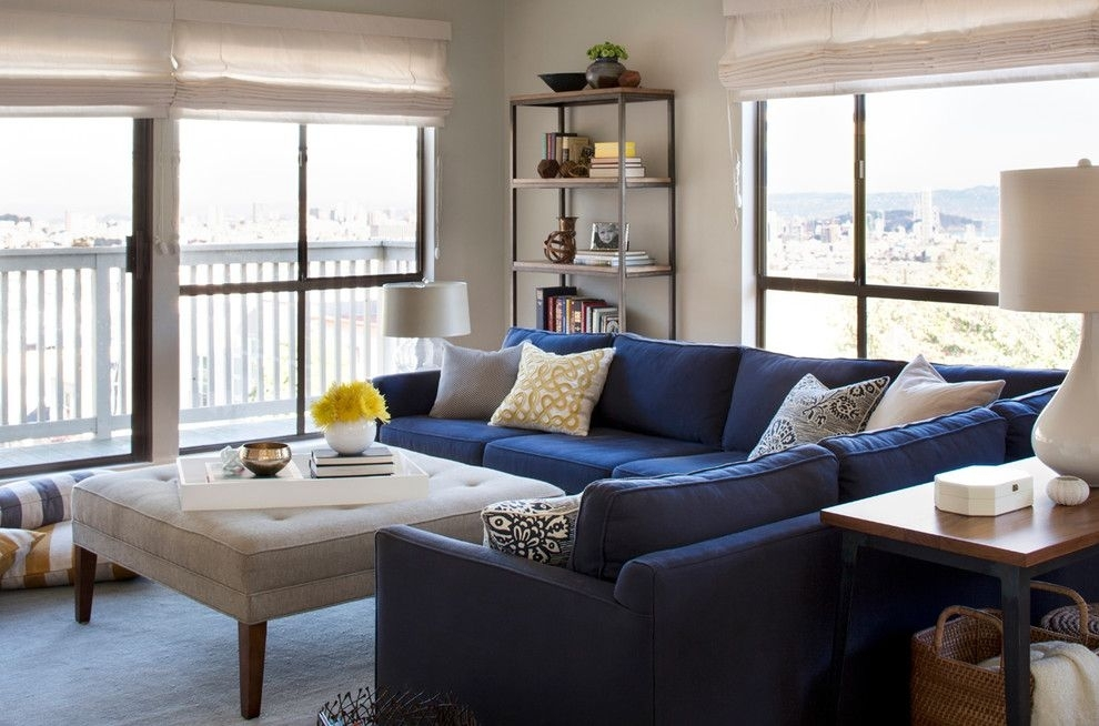 Glorious Contemporary Blue Velvet Sectional Sofa Decorating Ideas Inside Sectional Sofas Decorating (Image 4 of 10)