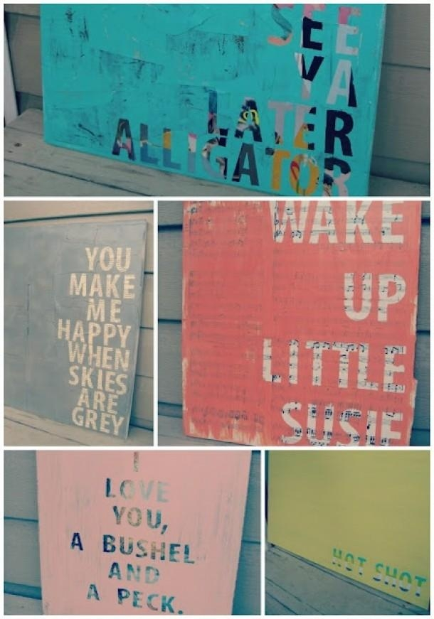 Glue Newspaper Over A Canvas, Stick On Letters. Paint Over And Within Letters Canvas Wall Art (Photo 10 of 20)