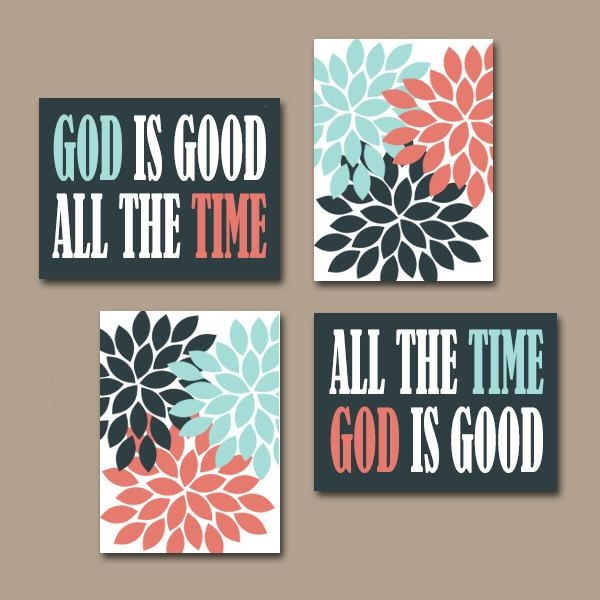 God Is Good All The Time Wall Art Canvas Or Prints Religious Quote Pertaining To Religious Canvas Wall Art (View 6 of 20)