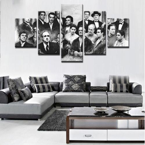 Godfather 5 Pcs Gangster Movie Painting Print Canvas Wall Art In Movies Canvas Wall Art (Image 10 of 20)