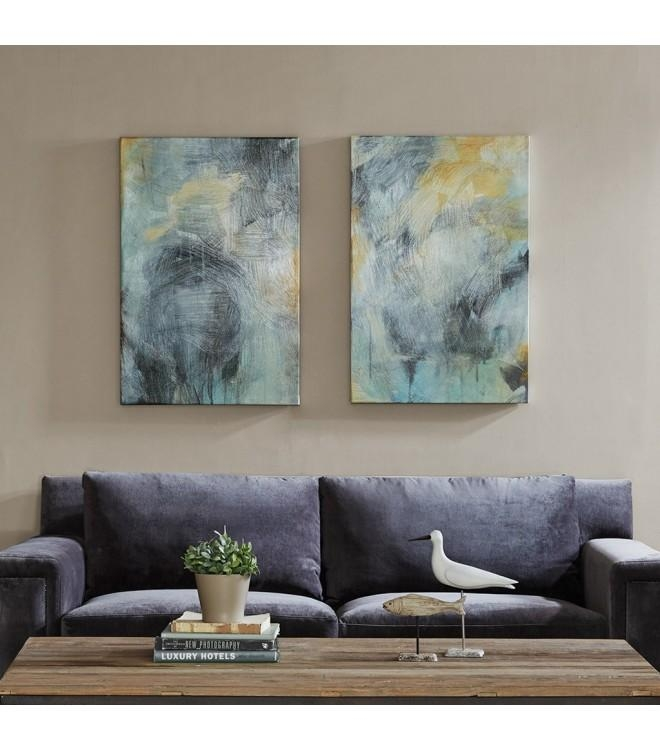 & Gold Brush Stroke Abstract Canvas Wall Art With Grey Canvas Wall Art (View 12 of 20)