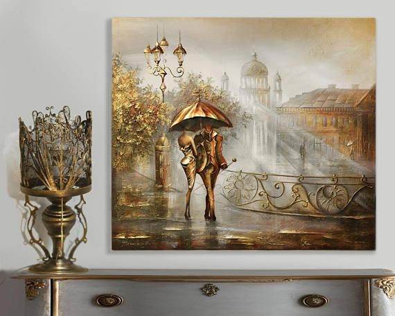 Gold Canvas Painting Wall Art Impasto Painting Gold Leaf Inside Gold Canvas Wall Art (Photo 12 of 20)