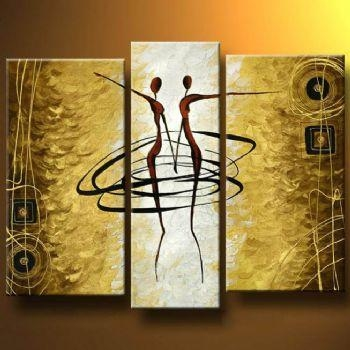 Gold Dance I Modern Canvas Oil Painting Wall Art With Stretched With Dance Canvas Wall Art (Image 11 of 20)