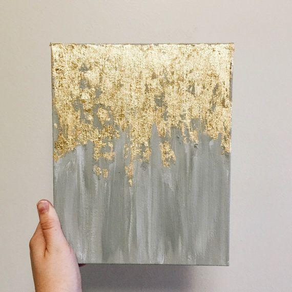 Gold Leaf Art, Gold Leaf And White Metallic Abstract Painting With In Gold Canvas Wall Art (Photo 19 of 20)