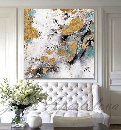 Gold Leaf Painting Black White Gold Art Abstract Print Within Abstract Leaves Wall Art (Image 8 of 20)