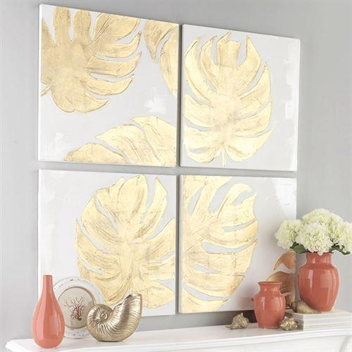 Gold Monstera Leaf 4 Pc Canvas Wall Art Set Intended For Gold Canvas Wall Art (View 7 of 20)