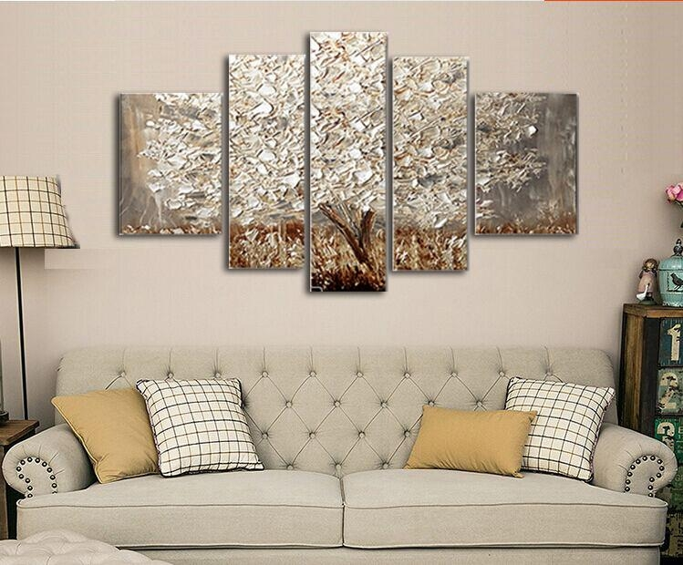 Golden Abstract Fortune Lucky Trees Handmade Landscape Oil In Gold Canvas Wall Art (View 10 of 20)