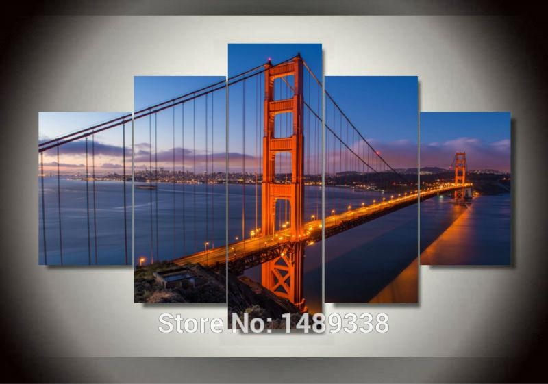 Golden Gate Bridge 5 Panels/set Large Hd Picture Canvas Modern Regarding Golden Gate Bridge Canvas Wall Art (Image 12 of 20)