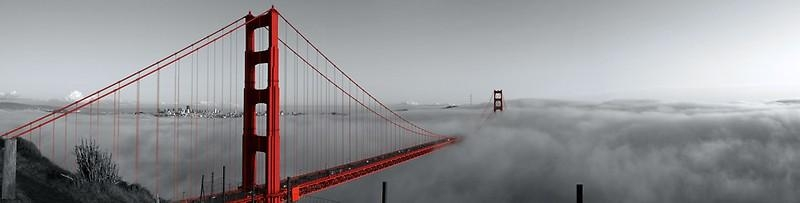 "Golden Gate Bridge — Black And Red"" Canvas Printsalex Inside Golden Gate Bridge Canvas Wall Art (Image 11 of 20)"