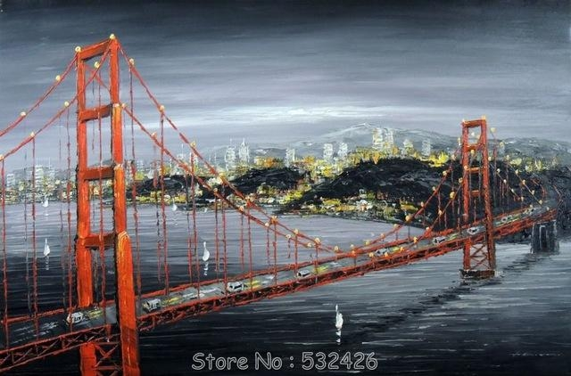 Golden Gate Bridge San Francisco Bay Black & White Handpainted Oil Throughout Golden Gate Bridge Canvas Wall Art (Image 16 of 20)