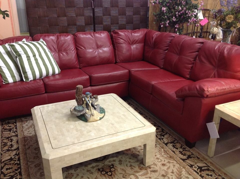 Gorgeous New Red Leather Sectional With White Stitching (Image 4 of 10)