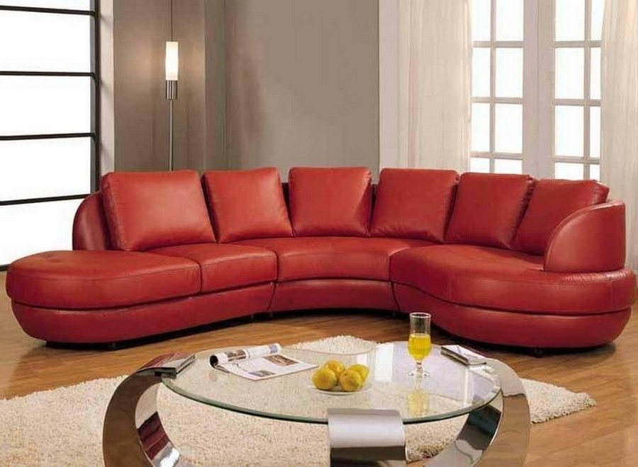 Gorgeous Red Leather Sectional Sofa With Chaise And Small Round Inside Small Red Leather Sectional Sofas (Image 5 of 10)
