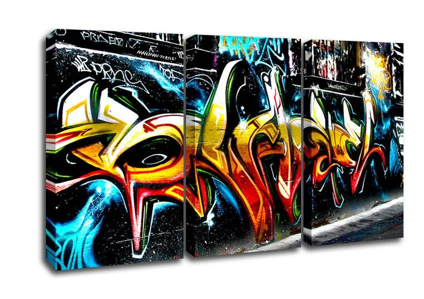 Graffiti Abstract Art Urban 3 Panel Canvas 3 Panel Set Canvas Regarding Graffiti Canvas Wall Art (Image 7 of 20)