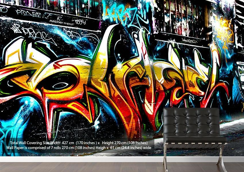 Graffiti Abstract Art Urban Wallpaper Printed Wall Paper Throughout Abstract Graffiti Wall Art (Image 10 of 20)