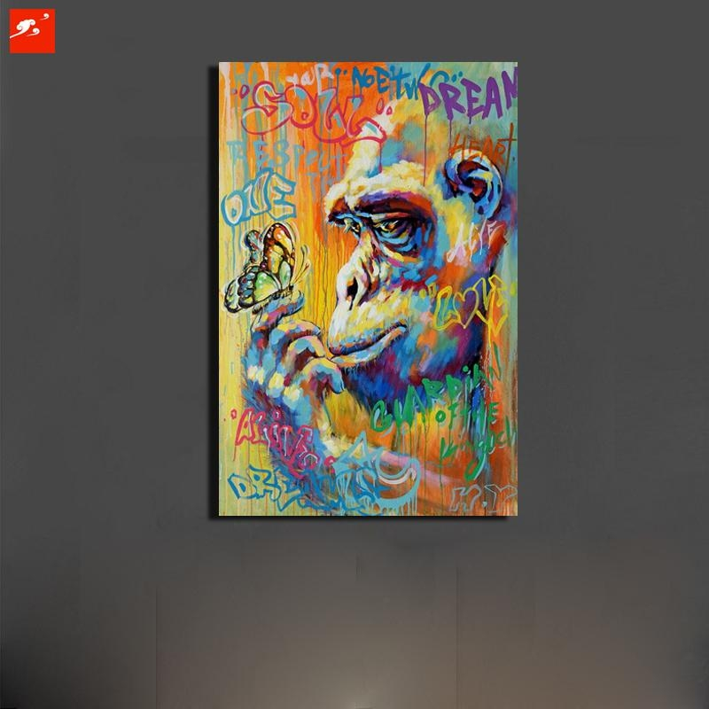 Graffiti Street Art Monkey Gorrila Canvas 50% Oil Painting Home Inside Graffiti Canvas Wall Art (Image 10 of 20)