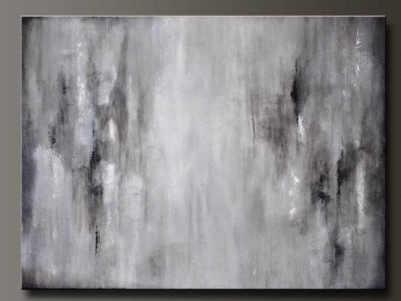 Graphite Gray – 40 X 30 – Abstract Acrylic Painting – Huge Inside Gray Abstract Wall Art (Photo 4 of 20)