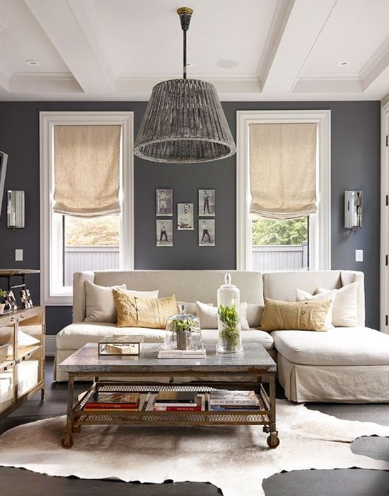 Gray/sectional Sofa/burlap Curtains/light Fixture/plants — Curated In Kelowna Bc Sectional Sofas (Image 9 of 10)