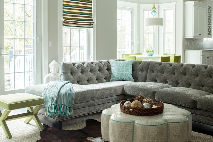 Gray Velvet Sectional – Contemporary – Living Room – Karen B Wolf With Velvet Sectional Sofas (Photo 9 of 10)