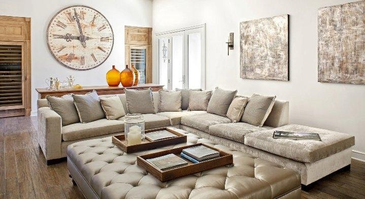 Gray Velvet Sectional Sofa – Mediterranean – Living Room – Palm For Velvet Sectional Sofas (View 7 of 10)