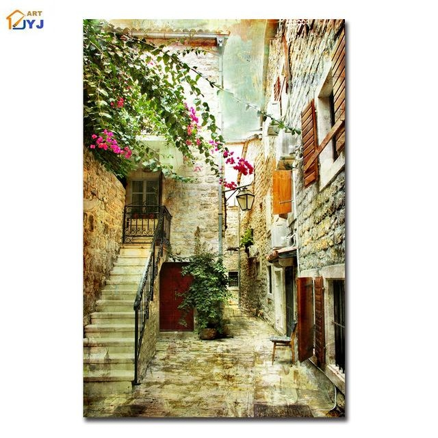 Greece Old Street Picture Spray Painting Wall Art For Living Room Inside Greece Canvas Wall Art (Image 14 of 20)