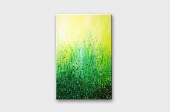 Green Acrylic Abstract Art Acrylic Paintings Original Wall Art Within Green Abstract Wall Art (Photo 1 of 20)