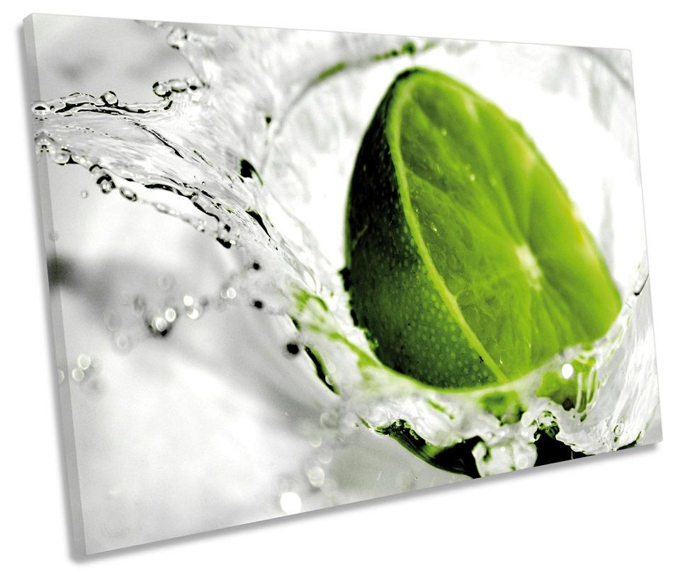 Green Lime Kitchen Splash Fruit Single Canvas Wall Art Box Framed In Lime Green Canvas Wall Art (Image 4 of 20)