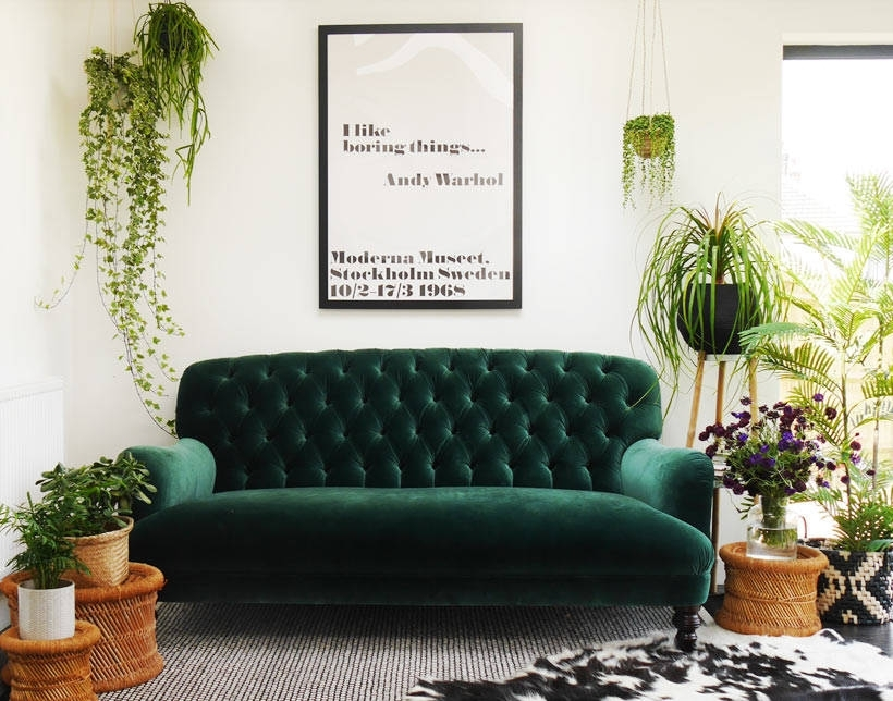 Green Velvet Sofa Or Emerald In Sofas Chairs 63 Pertaining To Couch Within Green Sofa Chairs (Image 5 of 10)
