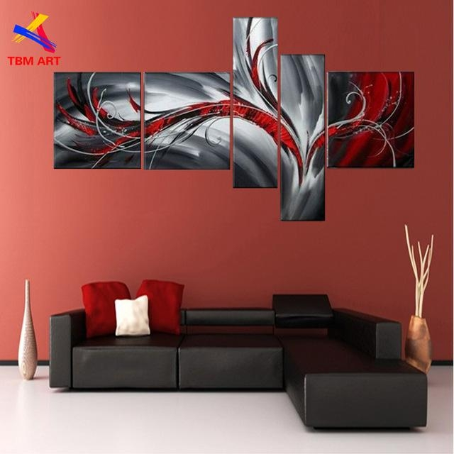 Grey And Red Color Pic Abstract Canvas Painting Large Handmade For Grey Abstract Canvas Wall Art (Image 9 of 20)
