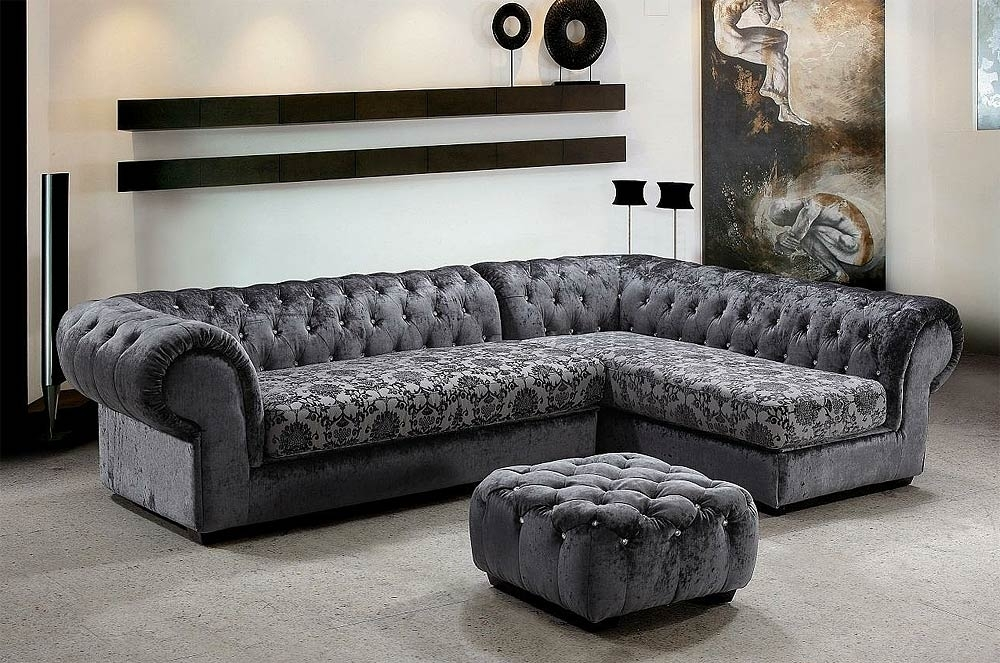 Grey Dream Mini Micro Fiber Sectional Sofa With Ottoman | Fabric Sofas With Regard To Sofas With Ottoman (Image 4 of 10)