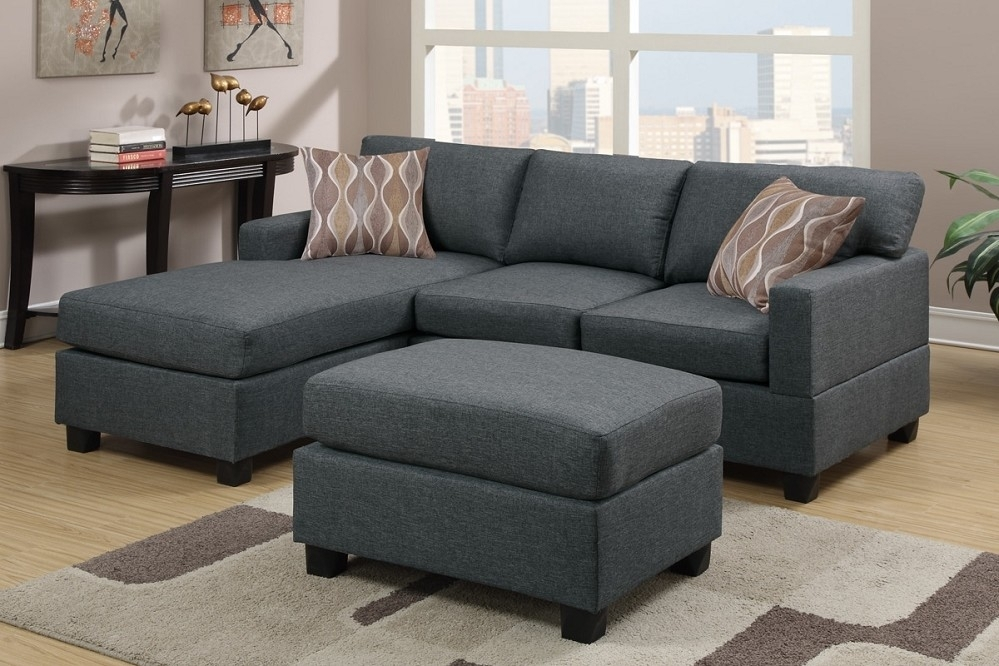 Grey Fabric Reversible Chaise Sectional Sofa With Ottoman Inside Intended For Sofas With Ottoman (Image 5 of 10)