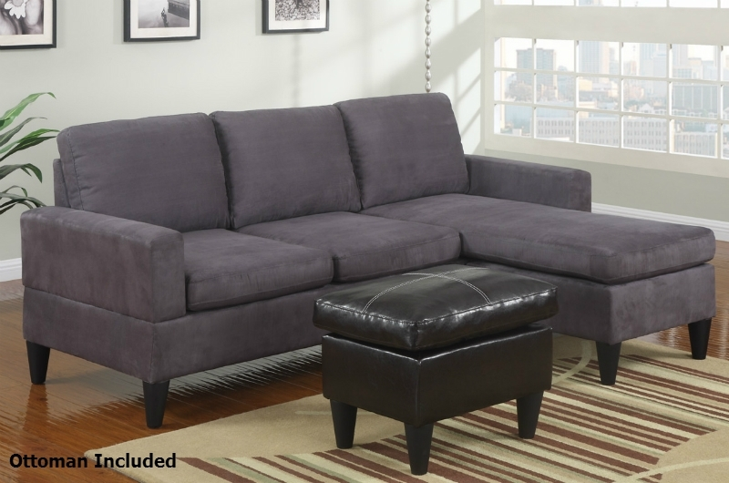 Grey Fabric Sectional Sofa And Ottoman – Steal A Sofa Furniture Intended For Sofas With Chaise And Ottoman (Image 6 of 10)