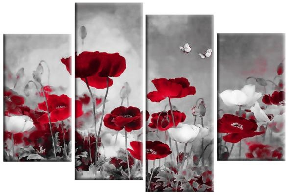 Grey Field Poppies Floral 4 Panel Canvas Wall Art 40 Inch 101Cm Inside Red Flowers Canvas Wall Art (Image 8 of 20)