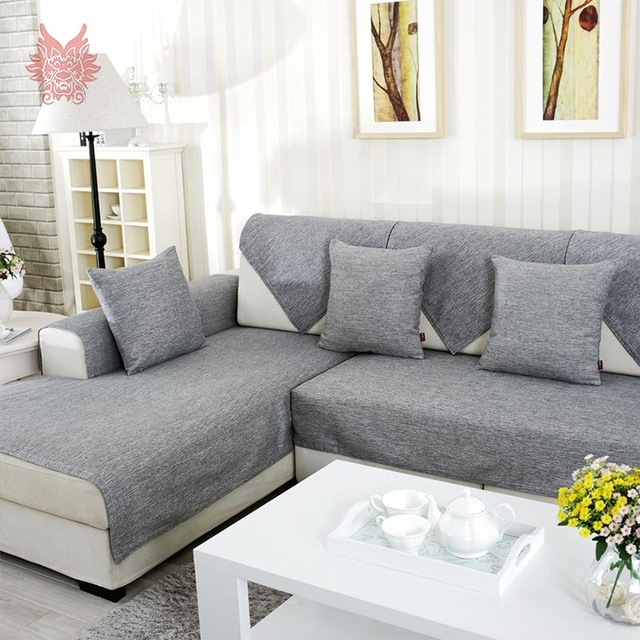 Grey Melange Sofa Cover Slipcovers Cotton Cheap Sectional Couch Throughout Sectional Sofas With Covers (Image 1 of 10)