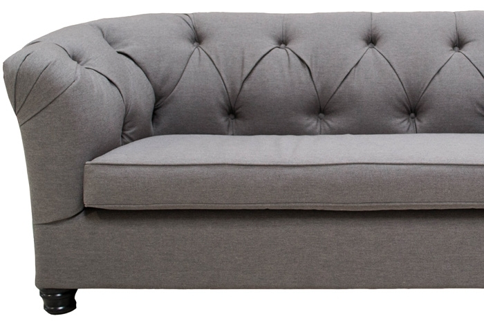 Guests Can Get Comfortable On The Tufted Paloma Sofa, $395, In Gray For Tufted Linen Sofas (Image 4 of 10)