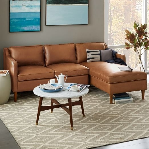 Hamilton 2 Piece Leather Chaise Sectional – Sienna | West Elm Intended For Hamilton Sectional Sofas (Image 3 of 10)