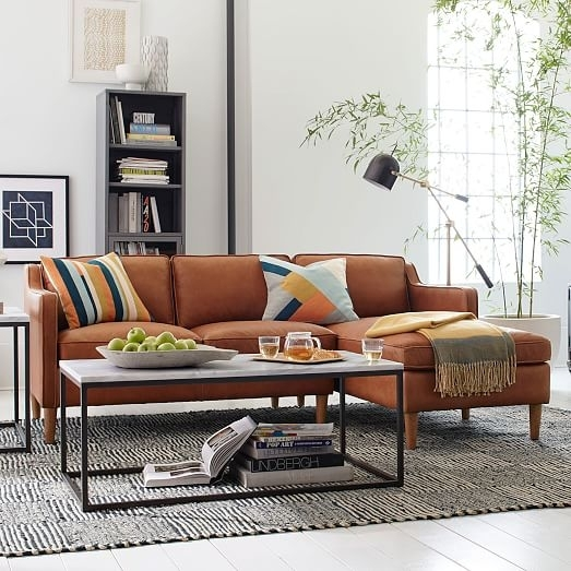 Hamilton 2 Piece Leather Chaise Sectional | West Elm Pertaining To Hamilton Sectional Sofas (Image 4 of 10)