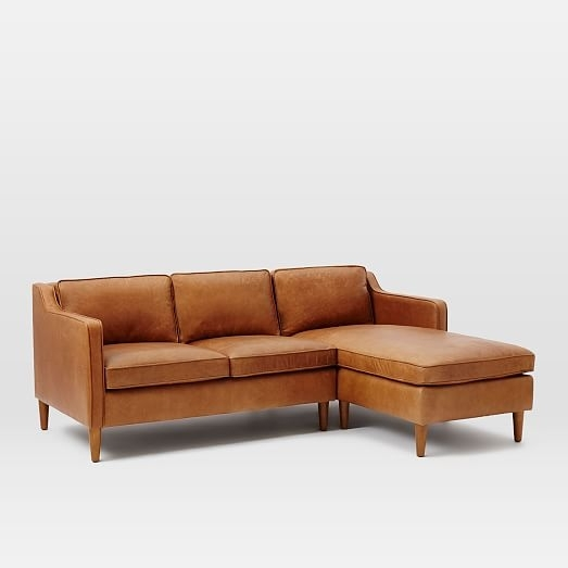 Hamilton 2 Piece Leather Chaise Sectional | West Elm With Regard To Hamilton Sectional Sofas (Image 5 of 10)