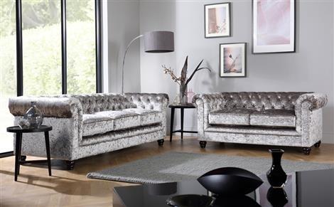 Hampton Silver Crushed Velvet Chesterfield Sofa 3 Seater Only Regarding Velvet Sofas (Image 4 of 10)