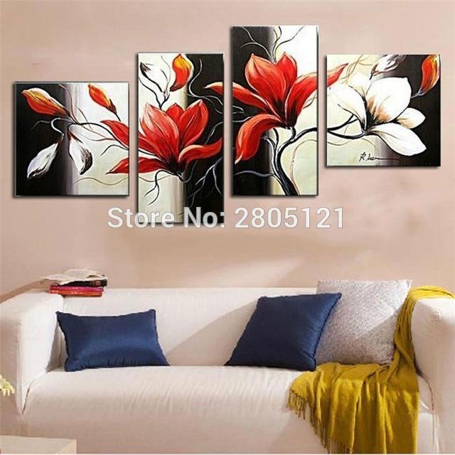 Hand Made 4 Piece Canvas Wall Art Modern Black Red Flower Oil With Regard To Red Flowers Canvas Wall Art (Image 9 of 20)